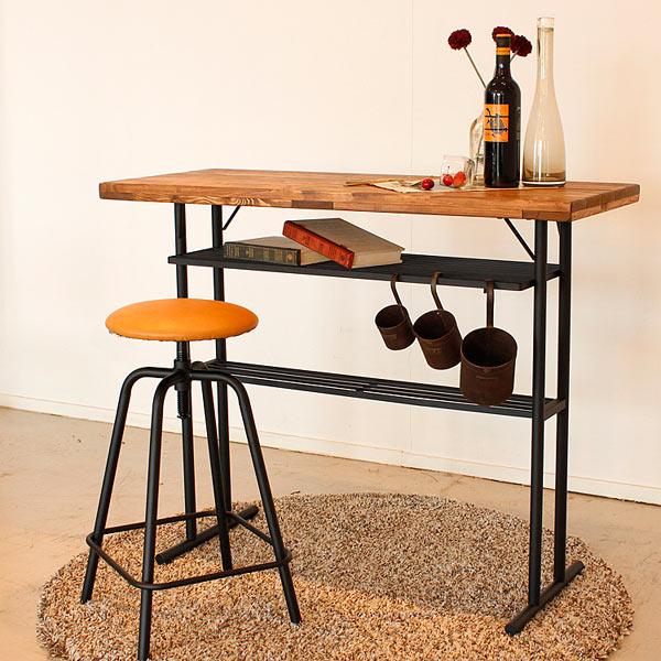 バーカウンター カウンターテーブル テーブル 幅110cm 110cm 収納付き ヴィンテージ 古木風 シンプル 北欧 レトロ モダン 木製 パイン材 無垢 送料無料