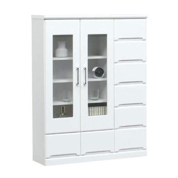 キャビネット 幅90cm 奥行31.5cm 薄型 リビング収納 白家具 シンプル 北欧 鏡面 ホワイト 白 木製 日本製 完成品 送料無料