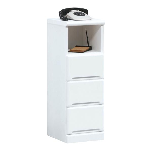 電話台 ファックス台 TEL台 FAX台 幅30cm 薄型 シンプル 鏡面 ホワイト 白 白家具 北欧 日本製 木製 完成品 送料無料
