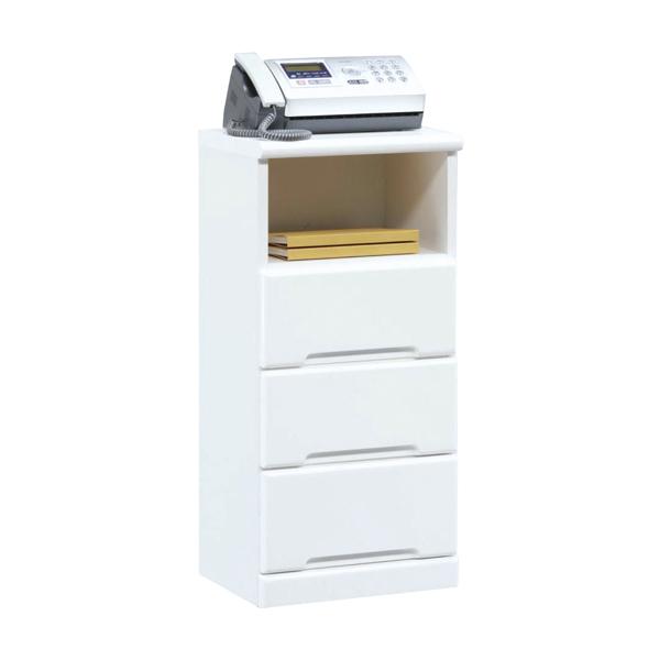 電話台 ファックス台 TEL台 FAX台 幅40cm 薄型 シンプル 鏡面 ホワイト 白 白家具 北欧 日本製 木製 完成品 送料無料