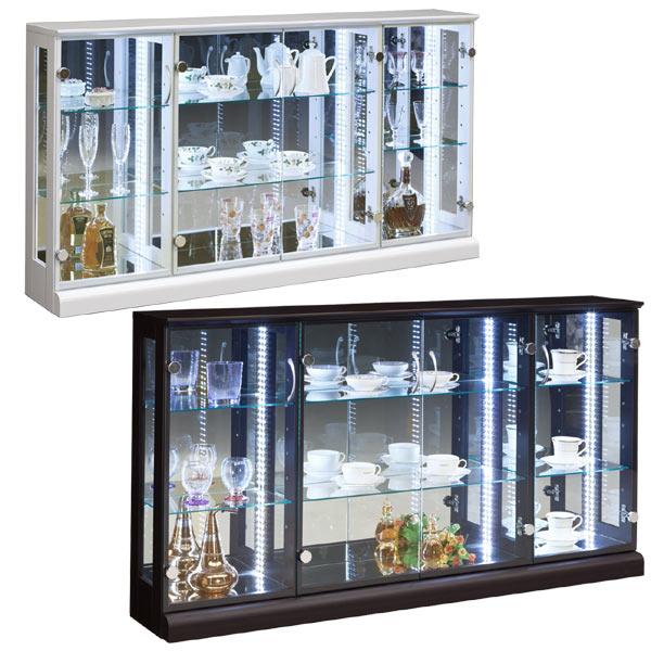 コレクションケース 幅150cm 奥行25cm 高さ80cm ロータイプ コレクションボード コレクションラック キュリオケース ガラスケース リビング収納 LEDライト付き 完成品 送料無料