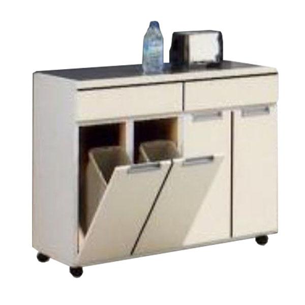 ダストボックス 4分別 ダストカウンター キッチンカウンター 幅100cm 100cm 100 1個11リットルの大容量ペール(4個)付き キャスター付き 送料無料