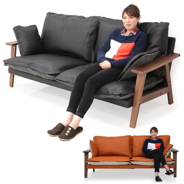 ソファー 3人掛け リバーシブル 本革 ファブリック 選べる2色 オレンジ ブラック 脚付き 木製 肘置き付き クッション付き 間仕切り 送料無料