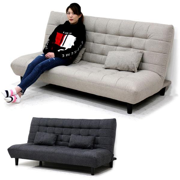 ソファーベッド ダブルサイズ 3人掛け コンパクト 幅180 クッション2個付き 脚部取り外し可能 ファブリック生地 選べる2色 ダークグレー ライトグレー 送料無料