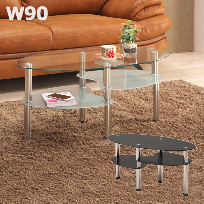 ガラステーブル 丸 幅90cm 高さ41cm 円形テーブル 丸テーブル クリア ブラック 選べる2色 スチール脚 リビングテーブル ローテーブル 清潔感 おしゃれ 北欧 棚 収納 飾り棚 送料無料