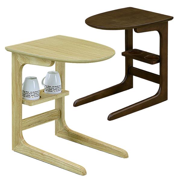 ナイトテーブル おしゃれ 完成品 幅37 高さ50 サイドテーブル ナチュラル ブラウン 選べる2色 丸形 丸テーブル 可愛い 北欧 オーク突板 ベッドサイド コップ置き マグカップ 送料無料