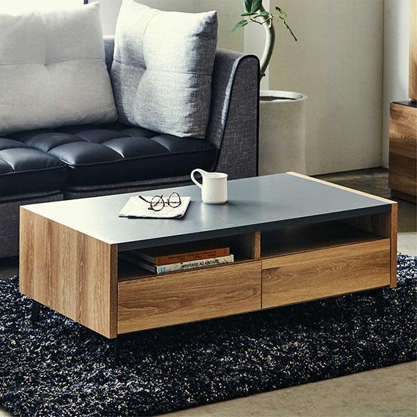ローテーブル 北欧 幅110cm 木製 ブラウン色 木目調 センターテーブル 引き出し収納 国産 フルオープンレール スチール脚 リビングテーブル おしゃれ 長方形 コーヒーテーブル