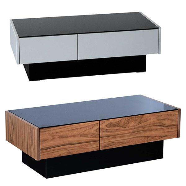 リビングテーブル ガラステーブル ローテーブル センターテーブル 幅105cm 105x50 コーヒーテーブル 収納付き 引き出し付きテーブル ホワイト ブラウン 木目調 ブラックガラス モダン カジュアル 北欧