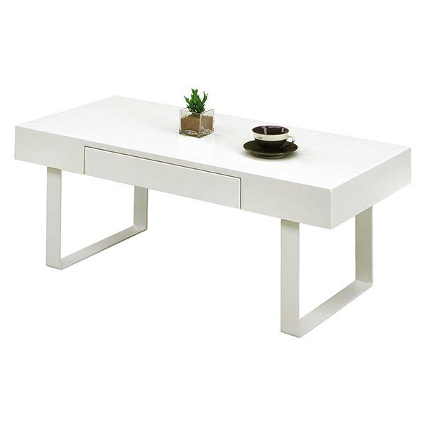 センターテーブル 白 幅100cm ホワイト色 鏡面 引き出し収納 清潔感 スチール脚 フルオープンレール ローテーブル コーヒーテーブル おしゃれ 小物収納 テーブル