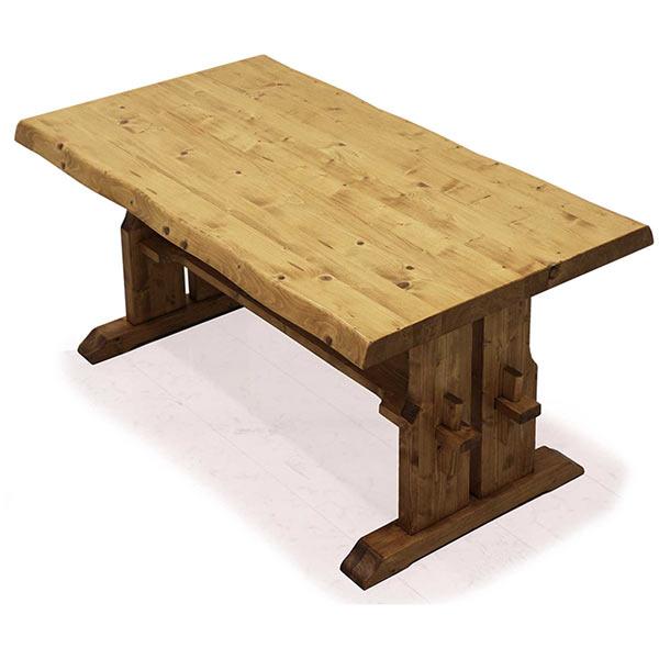 ダイニングテーブル 木製 幅150 パイン無垢材 ナグリ加工 高級感 楔 和モダン 楔 食卓テーブル リビング家具 北欧 ナチュラル色 一枚板風 テーブルのみ 無垢材 重圧感 送料無料