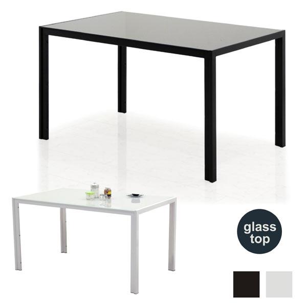 ガラステーブル ダイニング ダイニングテーブル おしゃれ 白 黒 幅135cm 135x80 食卓テーブル テーブル単品 強化ガラス スチール脚 ガラストップ ガラス天板 ホワイト ブラック 高級感 モダン スタイリッシュ