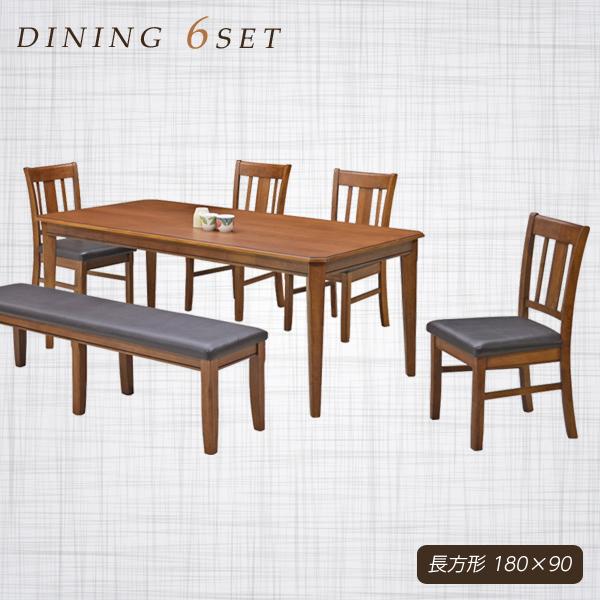 ダイニングテーブルセット 7人掛け ダイニングセット 6点セット ブラウン ベンチ テーブル幅180cm 180幅 テーブル 座面 合成皮革 オーク ラバーウッド モダン おしゃれ シンプル 食卓テーブルセット 木製 長方形 通販 送料無料