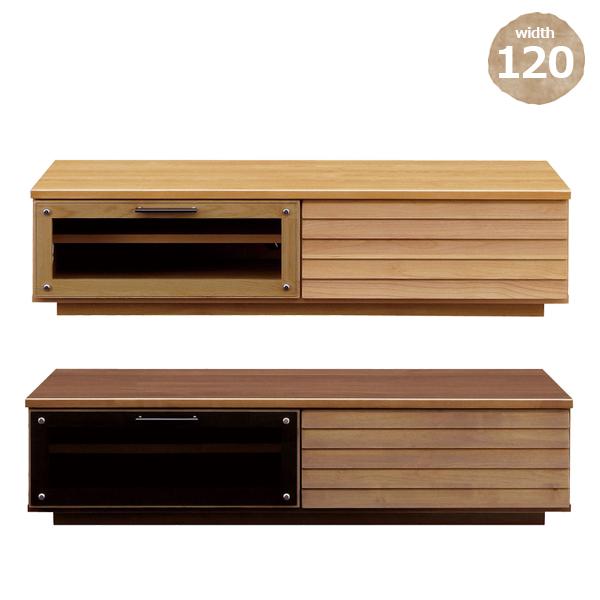 テレビボード 幅120 選べる2色 ナチュラル ブラウン 北欧 カントリー 木製 完成品 可動棚付き 省スペース 一人暮らし ワンルーム テレビ台 ローボード リビング家具 寝室家具 送料無料