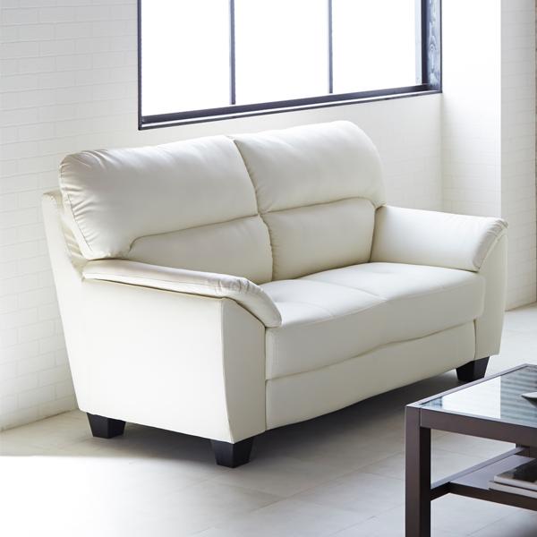 ソファー 2人掛け 可愛い 高級感 選べる2色 2サイズ ダークブラウン アイボリー モノトーン色 シンプル 2Pソファー 合成皮革 幅145 完成品 送料無料