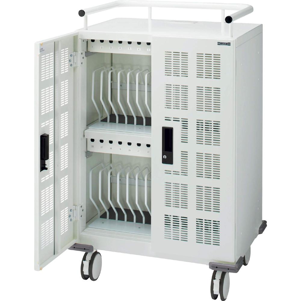モバイル端末用収納保管庫 セーフティチャージャー キャスター型 (30台・一括収納) TPC-30C ホワイト
