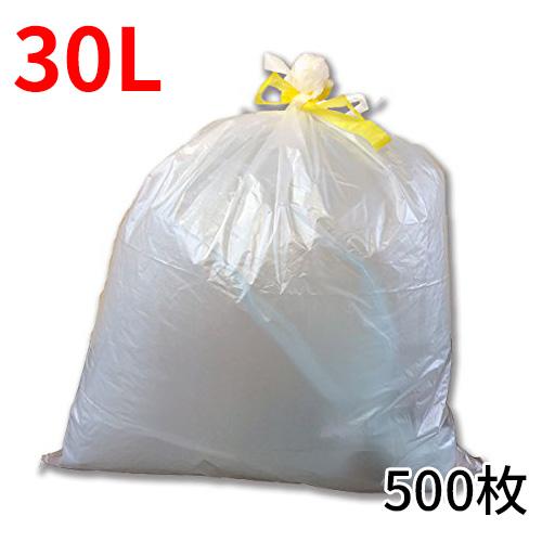 ★【ケース販売】ひも付きゴミ袋「リコロ」半透明 30リットル 10枚入り50冊(500枚)