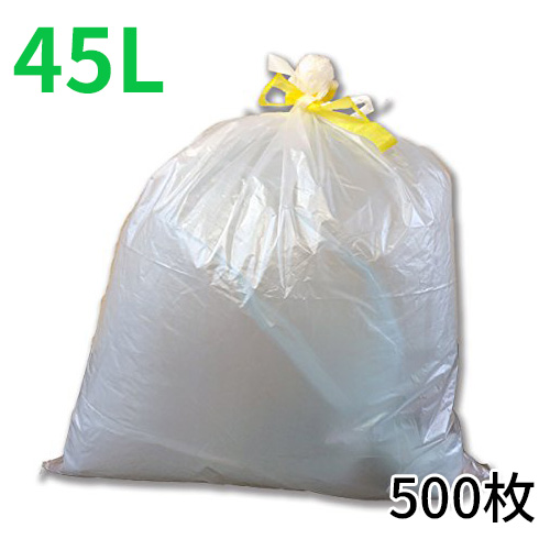 ★【ケース販売】ひも付きゴミ袋「リコロ」半透明 45リットル 10枚入り50冊(500枚)