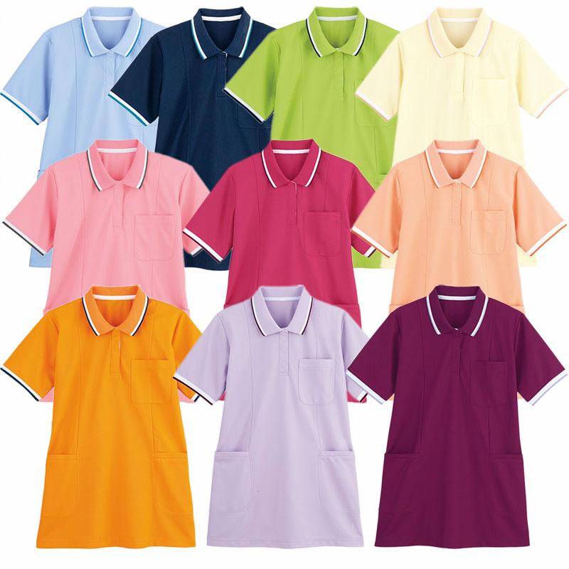 ギフト 正規激安 ヘルパーウェア 介護用ユニフォーム WHISEL ホワイセル 半袖ロングポロシャツ WH90338 レディース