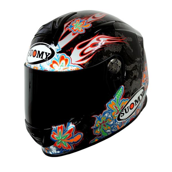 【返品・サイズ交換不可!!】日本特別仕様 SUOMY SSR00F6 SR-SPORTヘルメット FLOWER パールブラック 【スオーミー フラワー】 SGマーク 公道走行OK【smtb-k】