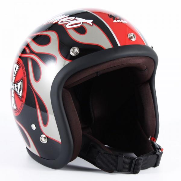 72JAM JJ-06G ジェットヘルメット ROCK&ROLL【ブラックグロス】