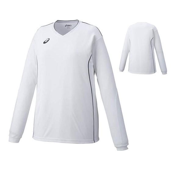 感謝価格 アウトレット アシックス プラシャツ LS XW6423-0190 賜物 ホワイト×ブラック 長袖 レディース ウィメンズ XL バレーボール