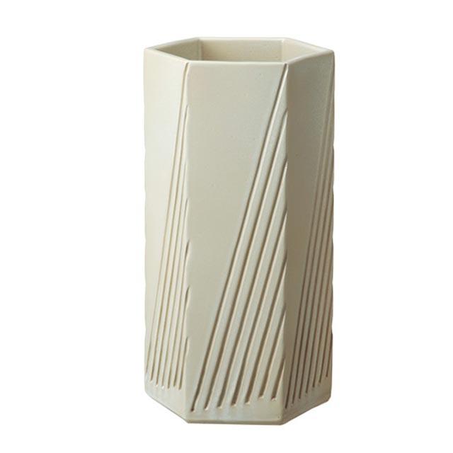 信楽焼きの傘立「ストライプヘキサゴン傘立」伝統 工芸品 しがらき 陶器 陶製 和風 玄関 レインラック アンブレラスタンド ラック 産地直送 玄関収納 かさたて 傘たて カサ立て アンティーク 色 リフル おしゃれ
