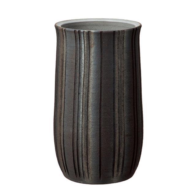信楽焼きの傘立「いぶし立線傘立」伝統 工芸品 しがらき 陶器 陶製 和風 玄関 レインラック アンブレラスタンド ラック 産地直送 玄関収納 かさたて 傘たて カサ立て アンティーク 色 リフル おしゃれ