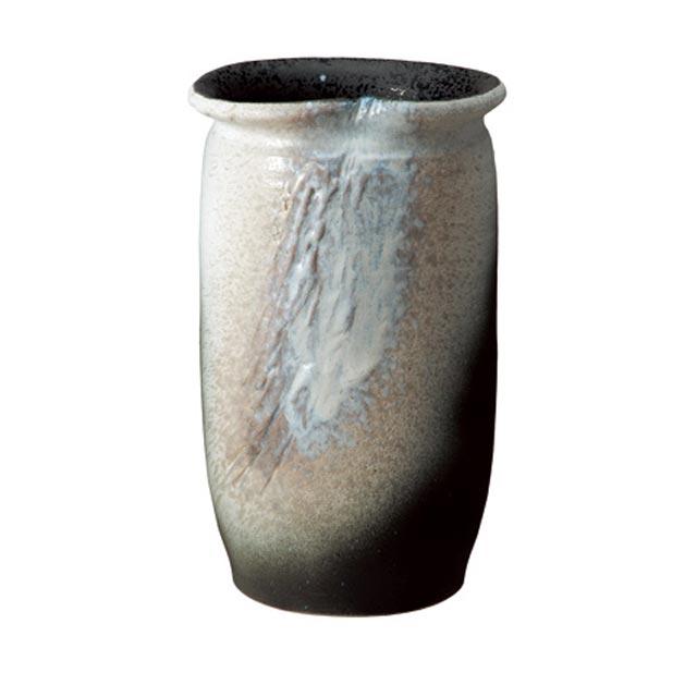 信楽焼きの傘立「白窯変傘立」伝統 工芸品 しがらき 陶器 陶製 和風 玄関 レインラック アンブレラスタンド ラック 産地直送 玄関収納 かさたて 傘たて カサ立て アンティーク 色 リフル おしゃれ