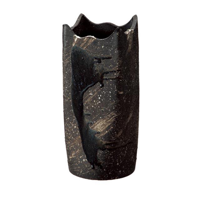 信楽焼きの傘立「黒釉ビードロ角型傘立」伝統 工芸品 しがらき 陶器 陶製 和風 玄関 レインラック アンブレラスタンド ラック 産地直送 玄関収納 かさたて 傘たて カサ立て アンティーク 色 リフル おしゃれ