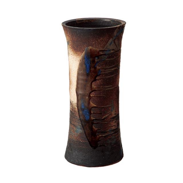 信楽焼きの傘立「こげビードロ流し鼓型傘立」伝統 工芸品 しがらき 陶器 陶製 和風 玄関 レインラック アンブレラスタンド ラック 産地直送 玄関収納 かさたて 傘たて カサ立て アンティーク 色 リフル おしゃれ
