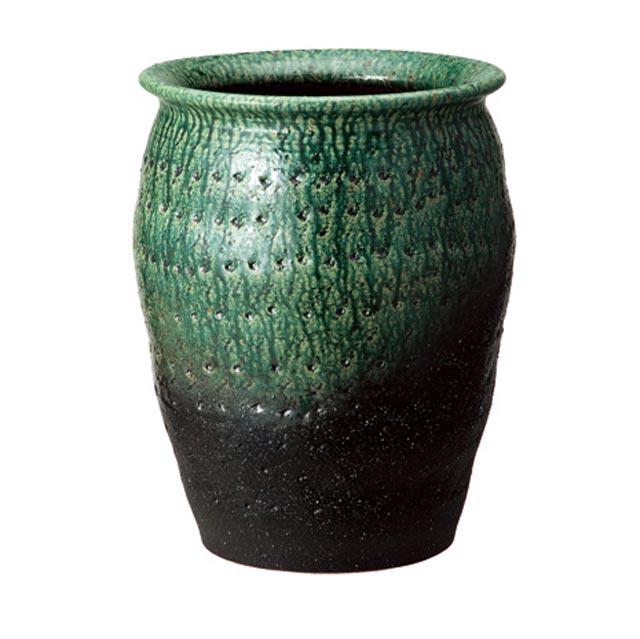 信楽焼きの傘立「緑彩壷型傘立」伝統 工芸品 しがらき 陶器 陶製 和風 玄関 レインラック アンブレラスタンド ラック 産地直送 玄関収納 かさたて 傘たて カサ立て アンティーク 色 リフル おしゃれ