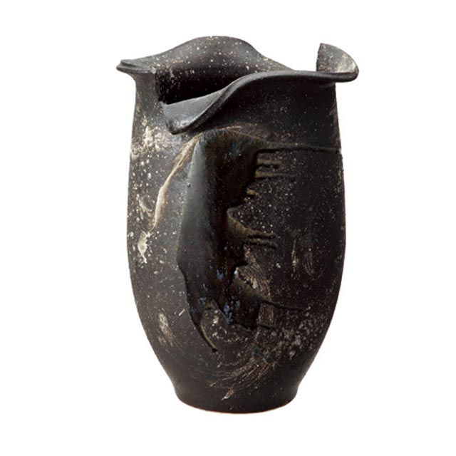 信楽焼きの傘立「黒釉ビードロ変形傘立」伝統 工芸品 しがらき 陶器 陶製 和風 玄関 レインラック アンブレラスタンド ラック 産地直送 玄関収納 かさたて 傘たて カサ立て アンティーク 色 リフル おしゃれ