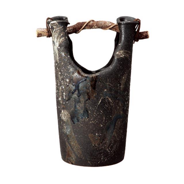 信楽焼きの傘立「黒ビードロ手桶傘立」伝統 工芸品 しがらき 陶器 陶製 和風 玄関 レインラック アンブレラスタンド ラック 産地直送 玄関収納 かさたて 傘たて カサ立て アンティーク 色 リフル おしゃれ