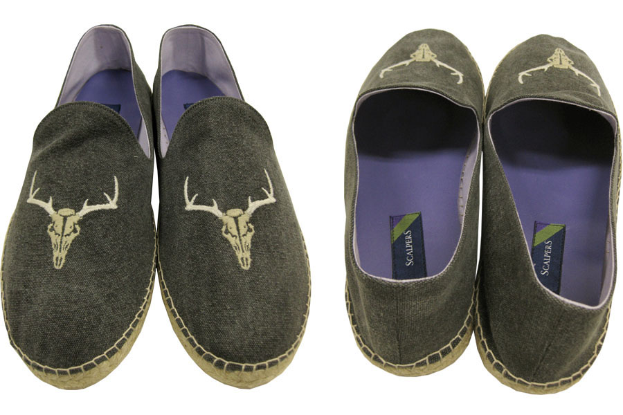 SCALPERS BLACK LABEL COW SKULL ESPADRILLES SLIP ON