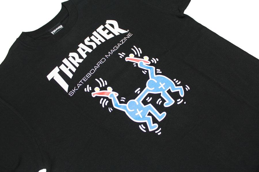 surassha THRASHER T恤短袖surassha×基斯·heringukorabo T恤黑色黑白白人分歧D