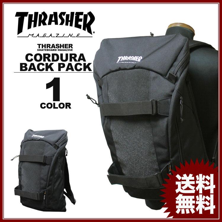 スラッシャー THRASHER リュック MAG emb CORDURA SKATE デイバック メンズ レディース バックパック ブラック