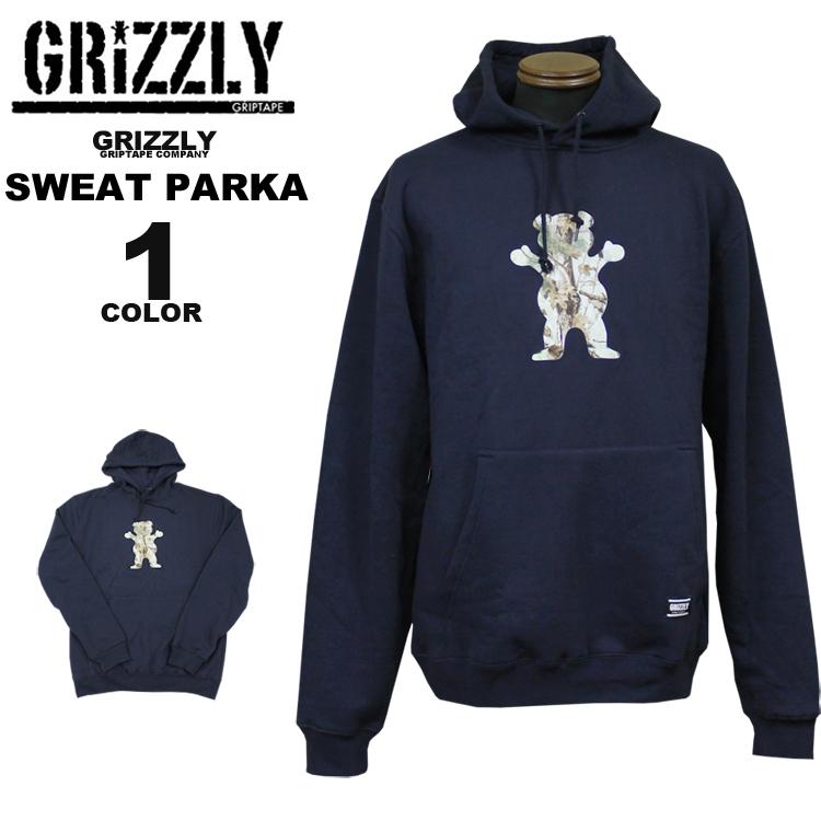 グリズリー GRIZZLY スエットパーカ パーカー TERRAIN OG BEAR HOODY SWEAT PARKA フードスエット メンズ レディース ネイビー S-XL