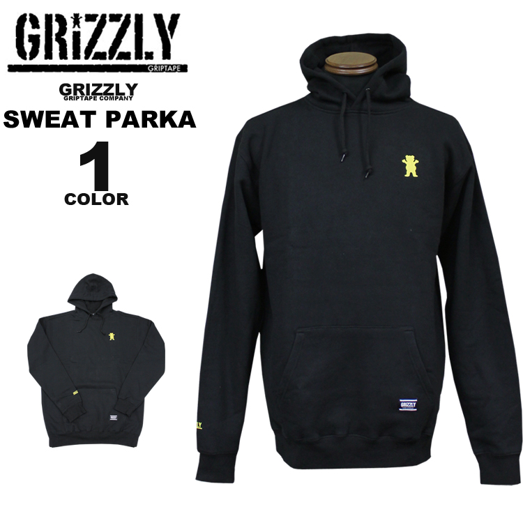 グリズリー GRIZZLY スエットパーカ パーカー OG BEAR EMBROIDERED HOODY SWEAT PARKA フードスエット メンズ レディース ブラック 黒 S-XL