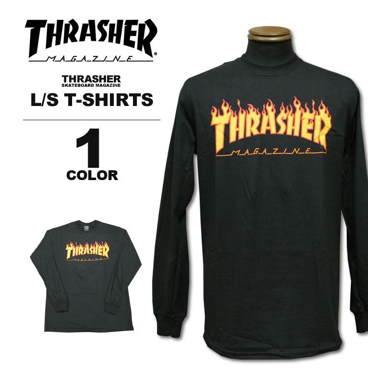 スラッシャー tシャツ スラッシャー THRASHER Tシャツ FLAME LOGO L/S T-SHIRTS 長袖 ロンティ メンズ レディース プリント ブラック 黒 M-L