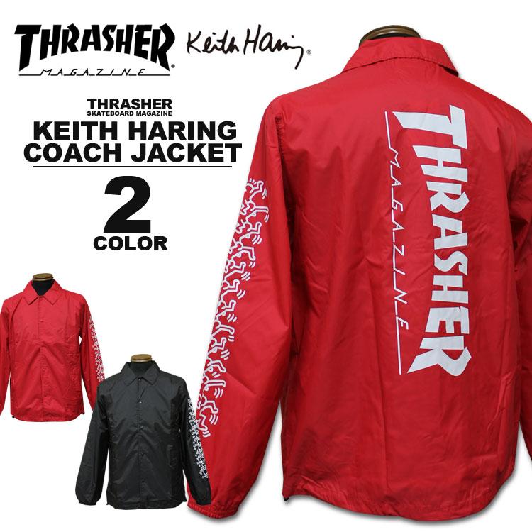 スラッシャー THRASHER キースヘリング コーチジャケット Keith Haring COACH JACKET メンズ レディース ナイロン 全2色 S-XL