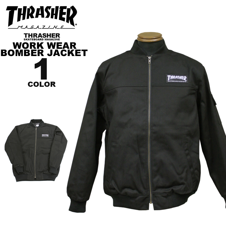 スラッシャー THRASHER ワークジャケット WORK WEAR BOMBER JACKET メンズ ブラック 黒 S-XL