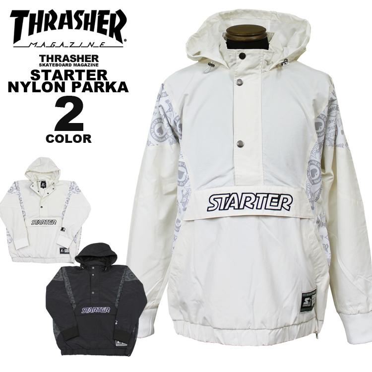 直営店限定 スラッシャー THRASHER ナイロン パーカー スターター STARTER BLACK ANORAK NYLON PARKA アノラック パーカ メンズ レディース 全2色 S-XL