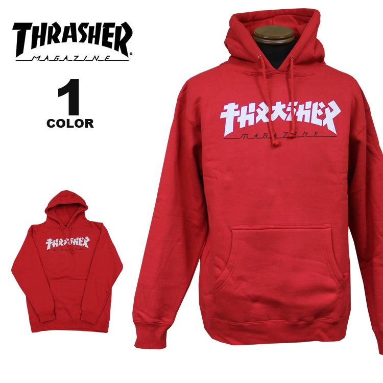 スラッシャー THRASHER トレーナー パーカー GODZILLA HOOD SWEAT PARKA スウェットパーカ メンズ レディース 裏起毛 レッド 赤 S-XL