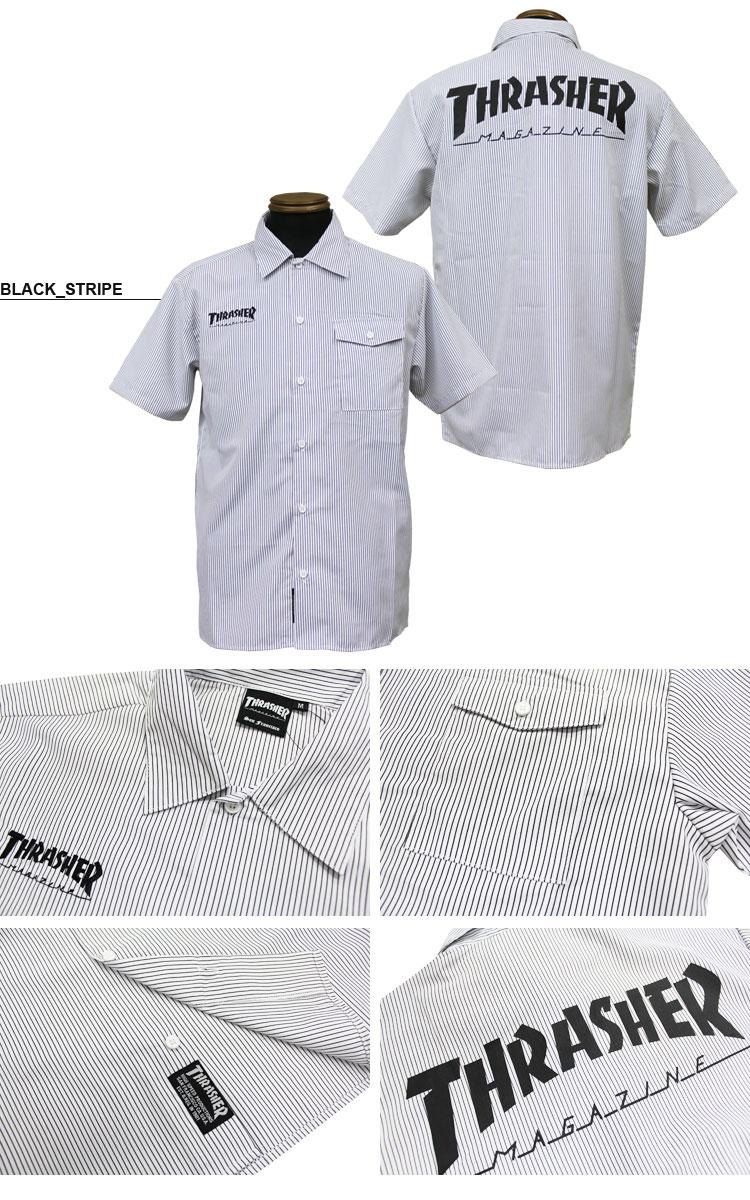 シャツ S WORK SHIRTS レディース THRASHER メンズ 全3色 HOMETOWN S/ S-XL 半袖ワークシャツ スラッシャー