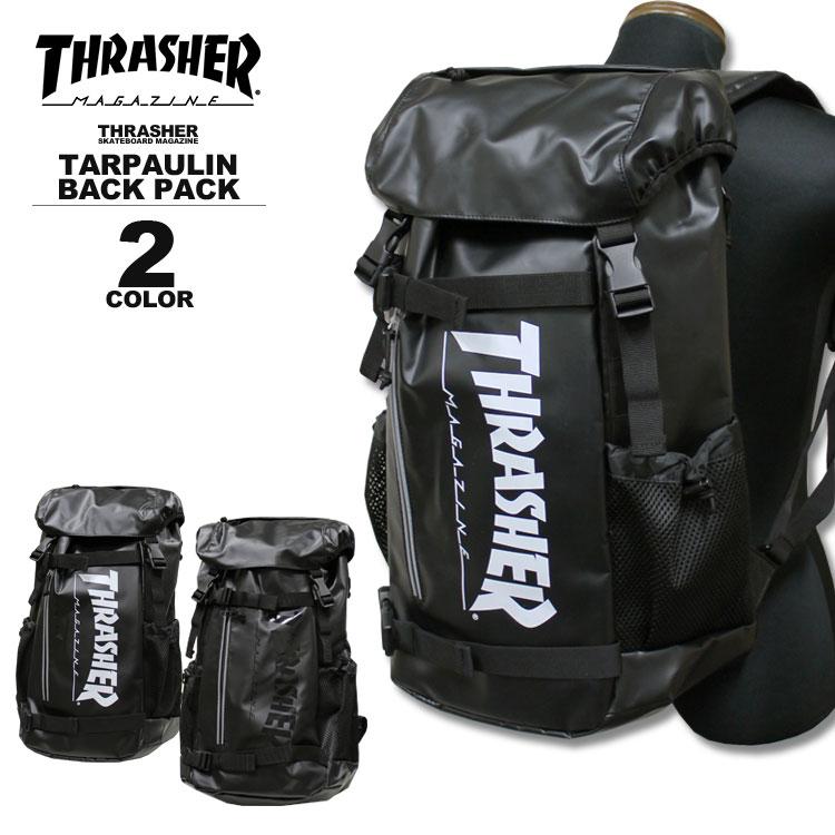 スラッシャー THRASHER カブセ リュック MAG LOGO TARPAULIN TR BACK PACK デイバック メンズ レディース バックパック ブラック