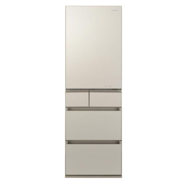 冷蔵庫 パナソニック Panasonic NR-E455PXL サテンゴールド 450L 左開き 5ドア ナノイー 省スペース大容量 ワンダフルオープン 微凍結パーシャル