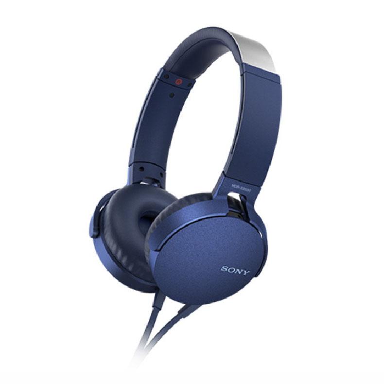 ステレオヘッドホン ソニー SONY MDR-XB550AP ブルー 重低音サウンド 装着感 イヤーパッド 低反撥ウレタンフォーム 気密性 スマートフォン 新品 送料無料