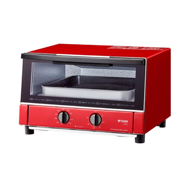 オーブントースター タイガー TIGER KAM-S130 kam-s130 グロスレッド ピザ25cm 取りやすいん棚 ワイドビック庫内 黒遠赤ヒーター 新品 送料無料