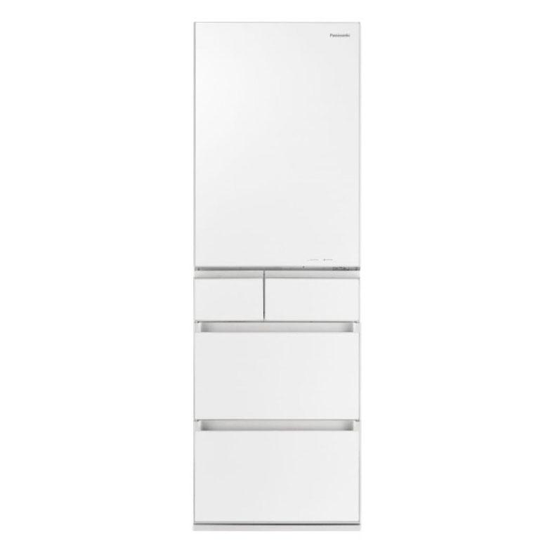 冷蔵庫 パナソニック Panasonic NR-E455PX スノーホワイト 450L 右開き 5ドア ナノイー 省スペース大容量 ワンダフルオープン 微凍結パーシャル