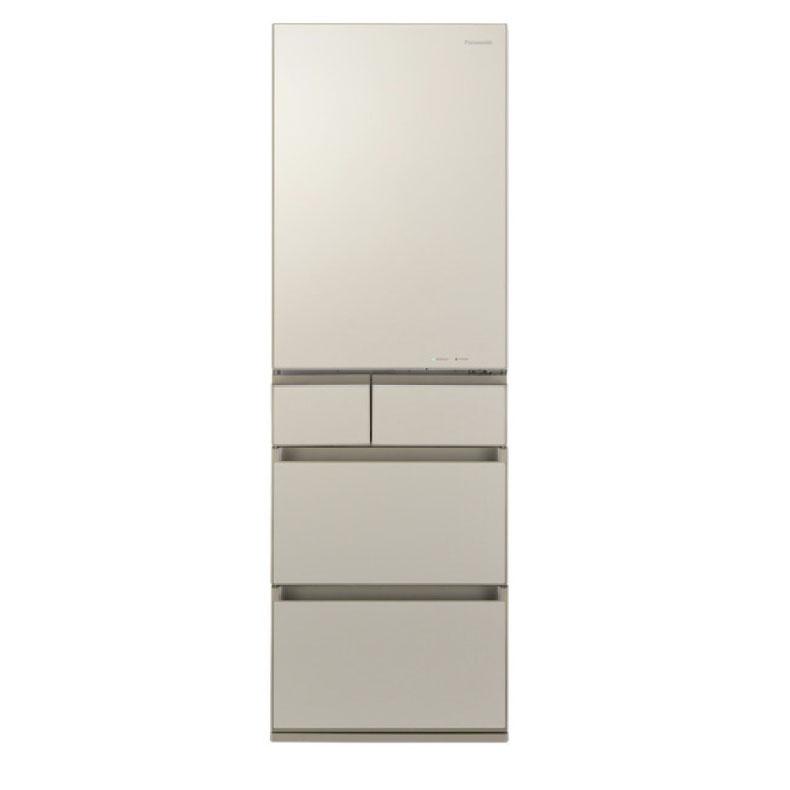 冷蔵庫 パナソニック Panasonic NR-E455PX サテンゴールド 450L 右開き 5ドア ナノイー 省スペース大容量 ワンダフルオープン 微凍結パーシャル